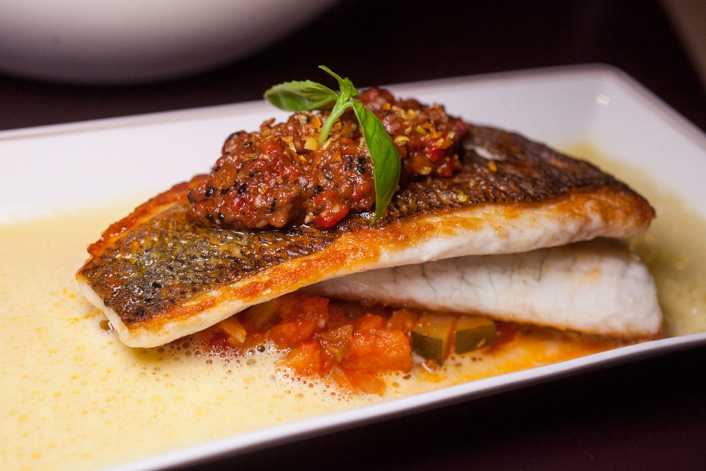 Seared Seabass at the Cafe Grey Deluxe, Middle House shanghai hotel