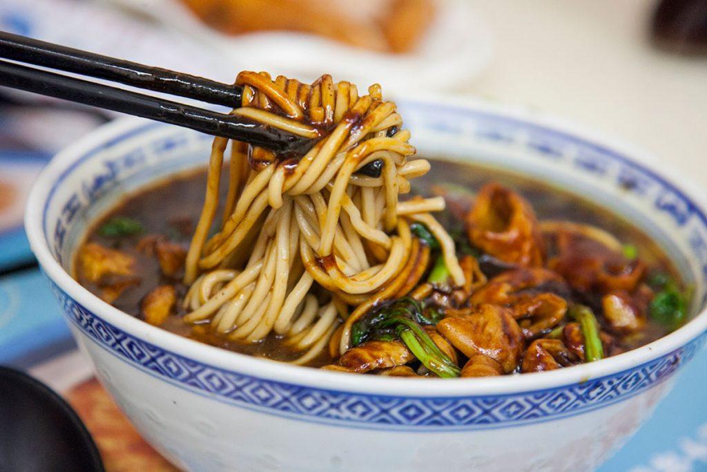 Noodles in Shanghai: large intestine noodles at Haling (Photo by Rachel Gouk)