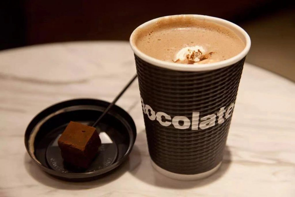 Where to get hot chocolate in Shanghai. Hot chocolate at Awfully Chocolate, a chocolate shop and cafe with multiple locaitons in Shanghai.