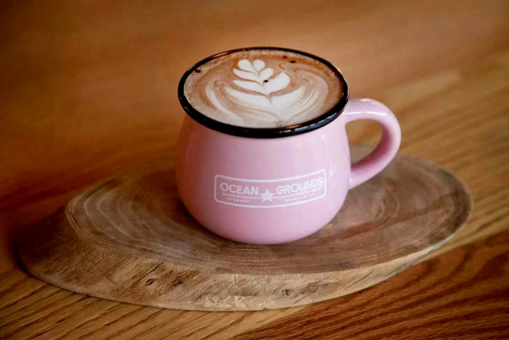 Where to get hot chocolate in Shanghai. Hot chocolate at Ocean Grounds, a cafe in Shanghai.