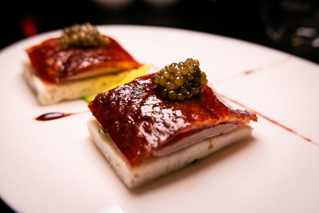 Crispy Duck with Imperial Caviar, a signature dish at Hakkasan Shanghai. Photo by Rachel Gouk.