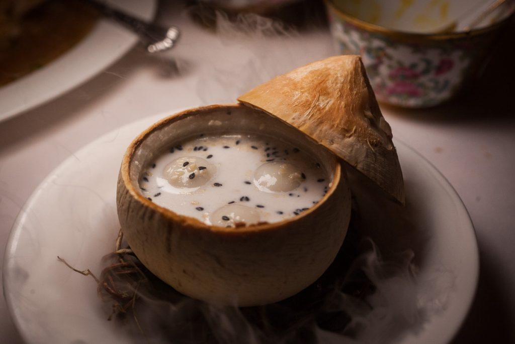 Coconut dessert at Lion, a contemporary Nanyang restaurant in Xintiandi, Shanghai. Photo by Rachel Gouk.