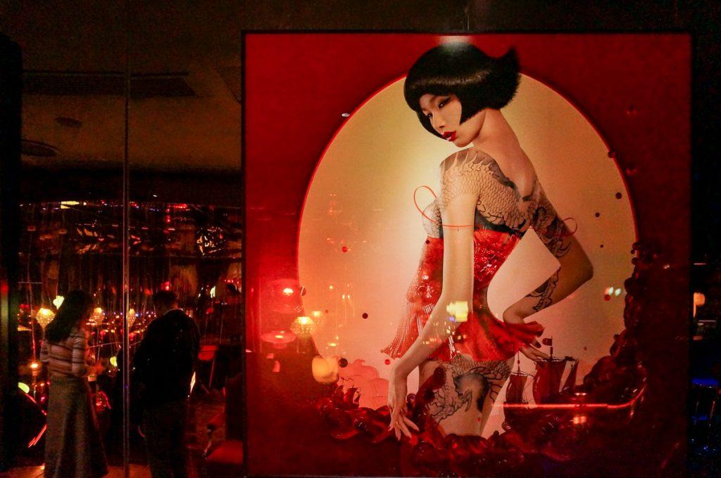 Artwork by Chen Man at Lion, a contemporary Nanyang restaurant in Xintiandi, Shanghai.  Photo by Rachel Gouk.