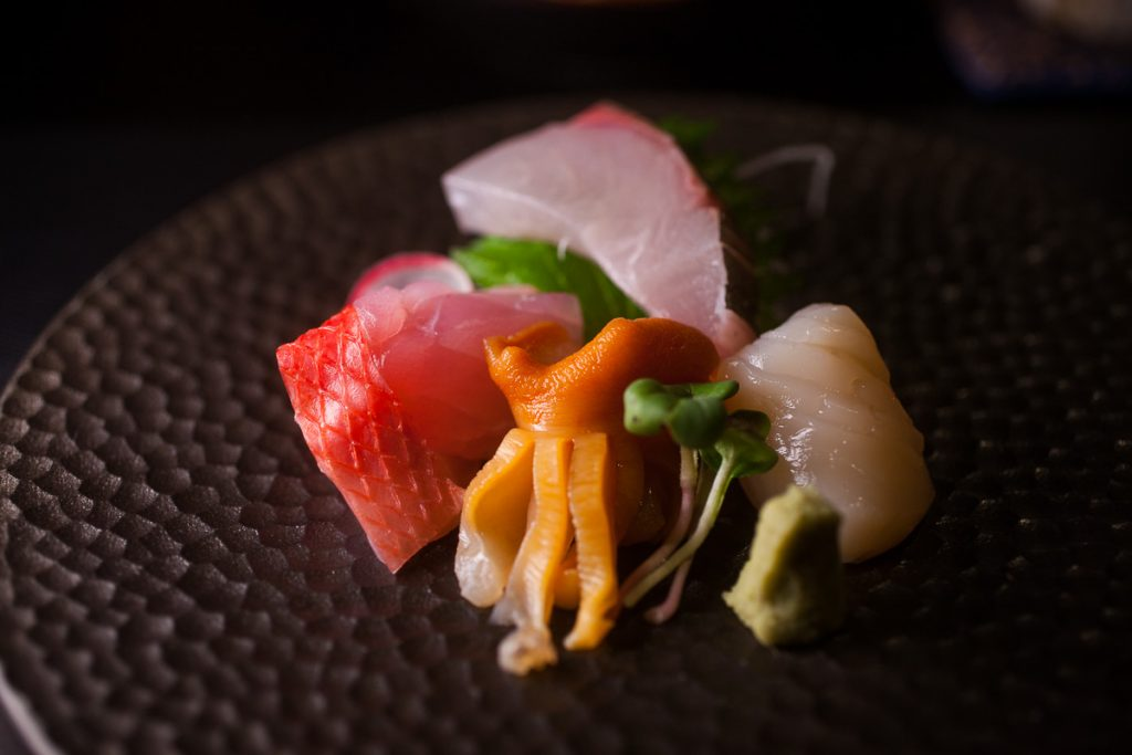 Sashimi at Nakama, a Japanese restaurant in Shanghai specializing in high-grade beef yakiniku. Photo by Rachel Gouk.