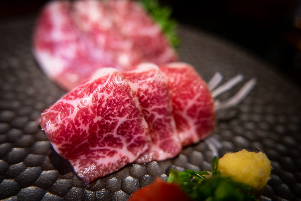 Horse meat sashimi at Nakama, a Japanese restaurant in Shanghai specializing in high-grade beef yakiniku. Photo by Rachel Gouk.