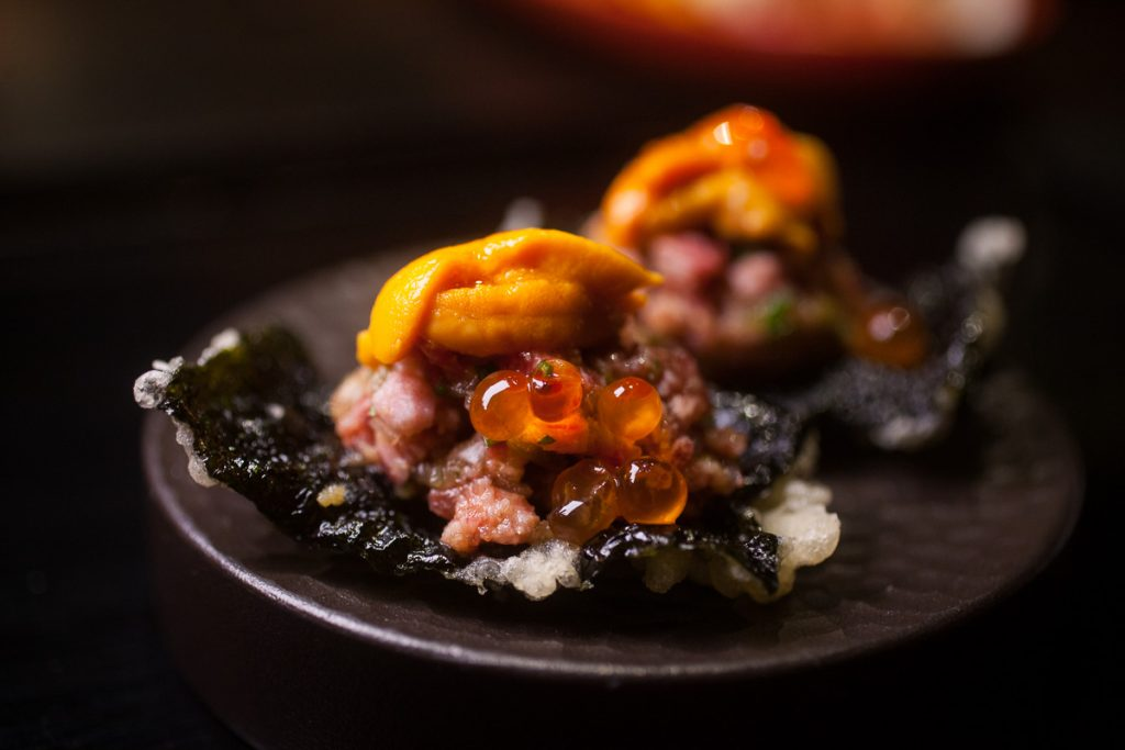 Uni, wagyu tartare, and salmon roe at Nakama, a Japanese restaurant in Shanghai specializing in high-grade beef yakiniku. Photo by Rachel Gouk.