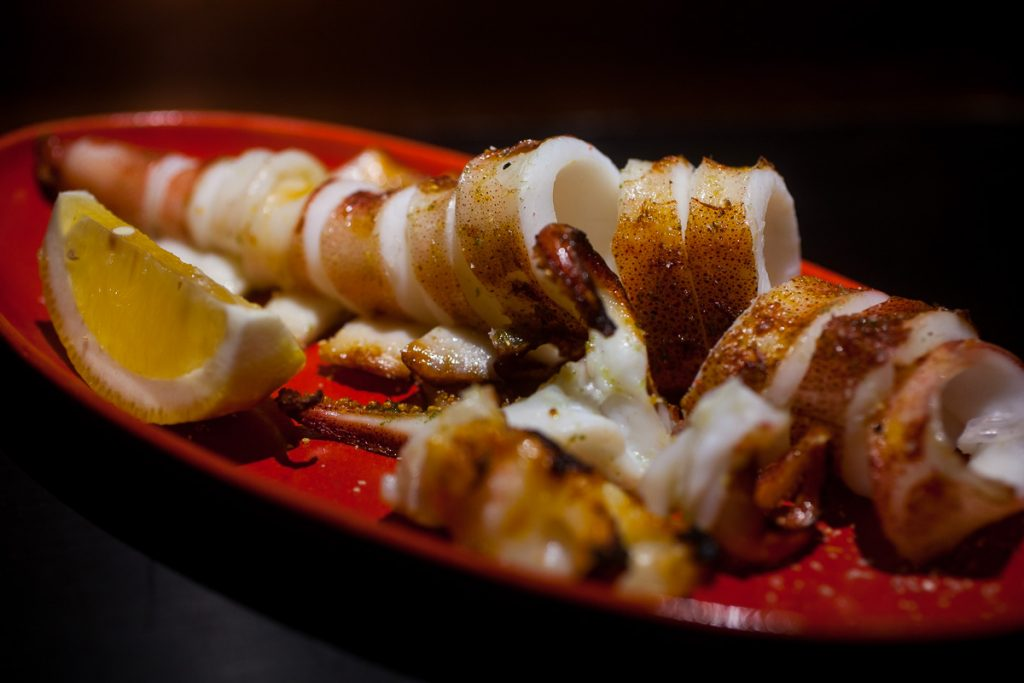 Squid at Nakama, a Japanese restaurant in Shanghai specializing in high-grade beef yakiniku. Photo by Rachel Gouk.