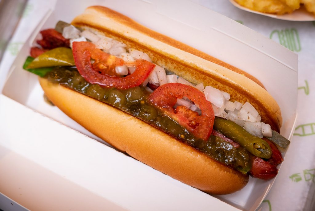 Shake Shack opens in Shanghai's Xintiandi. Here pictured: Shack-cago Dog. Photo by Rachel Gouk.