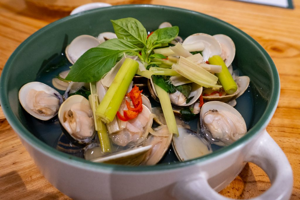 steamed clams at Bun Cha Cha, a Vietnamese restaurant in Shanghai specializing in bun cha. Photo by Rachel Gouk.