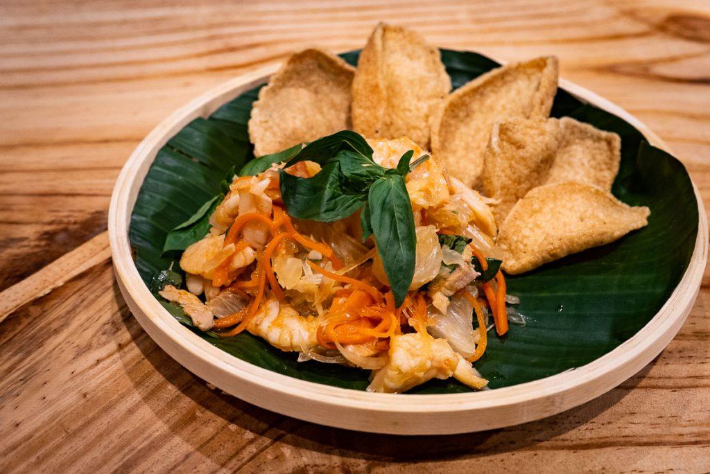 Pomelo salad at Bun Cha Cha, a Vietnamese restaurant in Shanghai specializing in bun cha. Photo by Rachel Gouk.