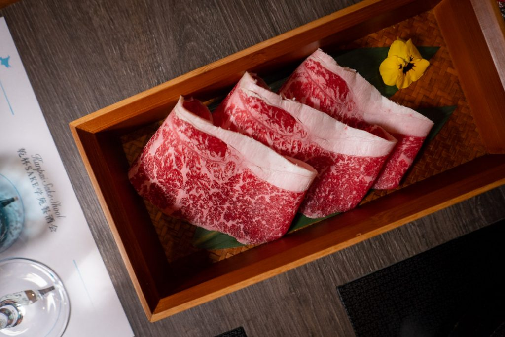Wagyu at The Oden by Kanpai Sake School, a Japanese restaurant and sake bar on the Bund. Photo by Rachel Gouk.