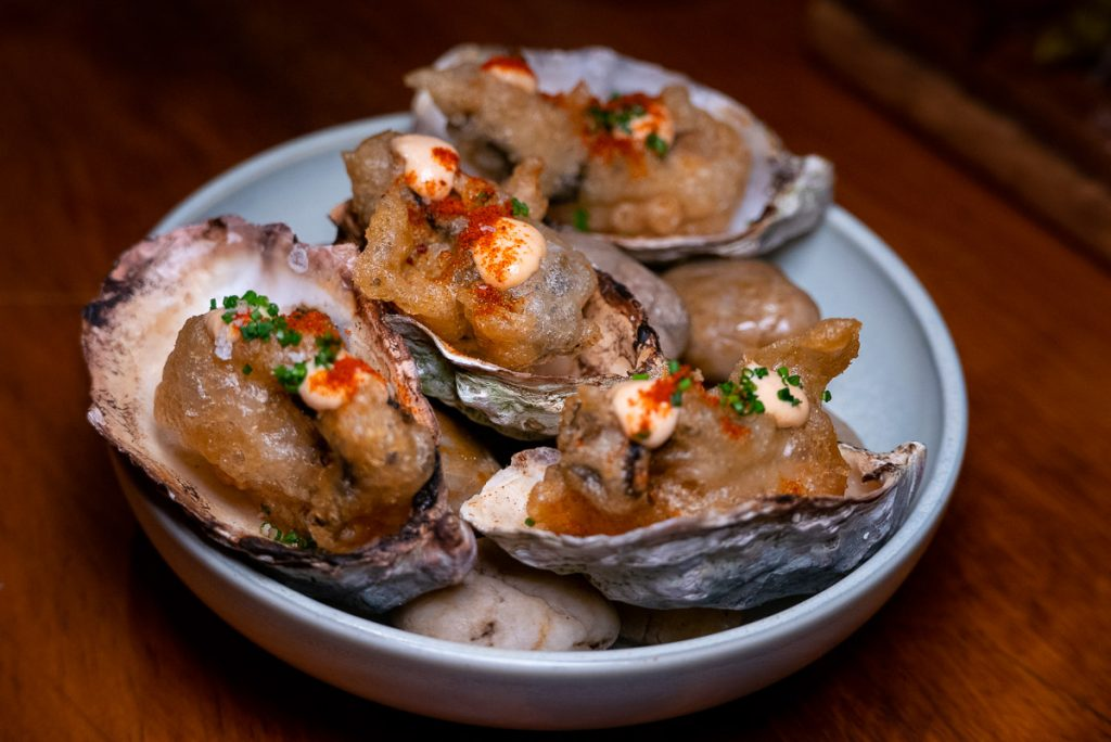 Beer battered oysters at C Pearl, a seafood and oyster restaurant in Pudong Century Link mall.
