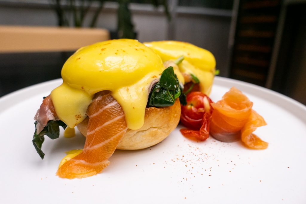 Salmon Benedict for brunch at FED by July. Photo by Rachel Gouk.
