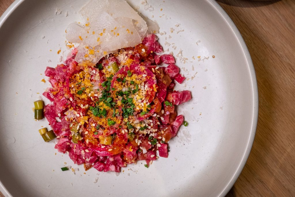Beef Tartare at Heritage by Madison, a restaurant in Shanghai by chef Austin Hu serving a seamless mix of Western and Asian influences. Photo by Rachel Gouk.