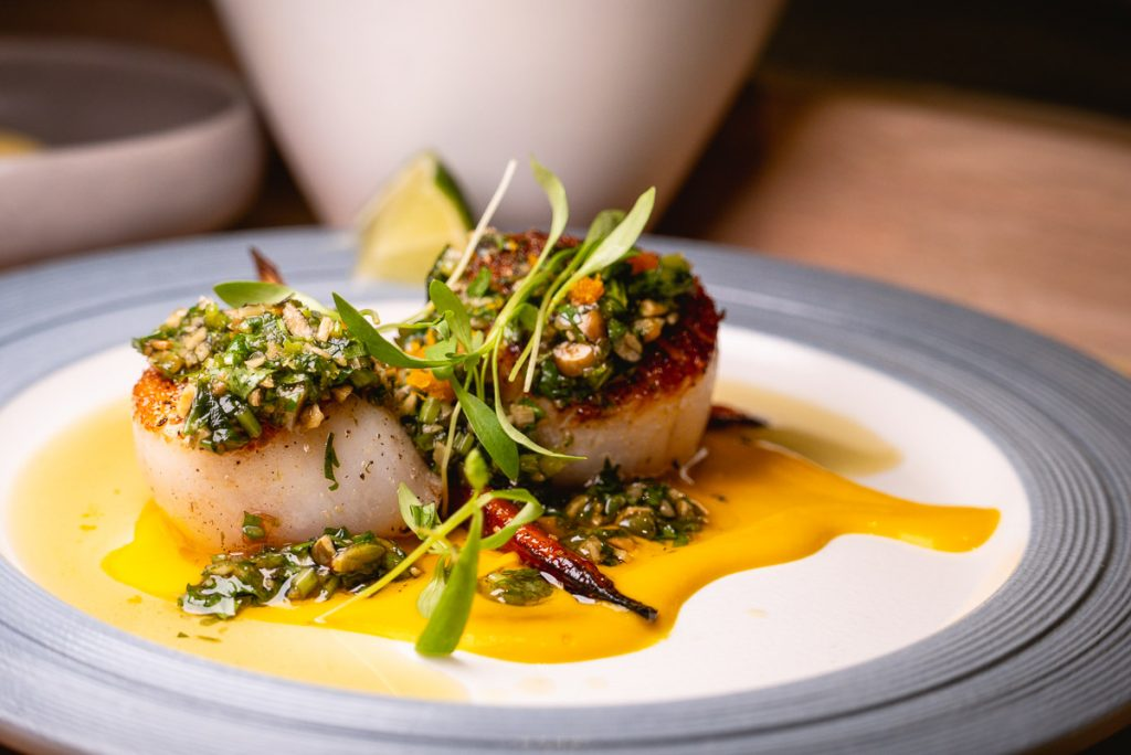 Seared Scallops at Heritage by Madison, a restaurant in Shanghai by chef Austin Hu serving a seamless mix of Western and Asian influences. Photo by Rachel Gouk.
