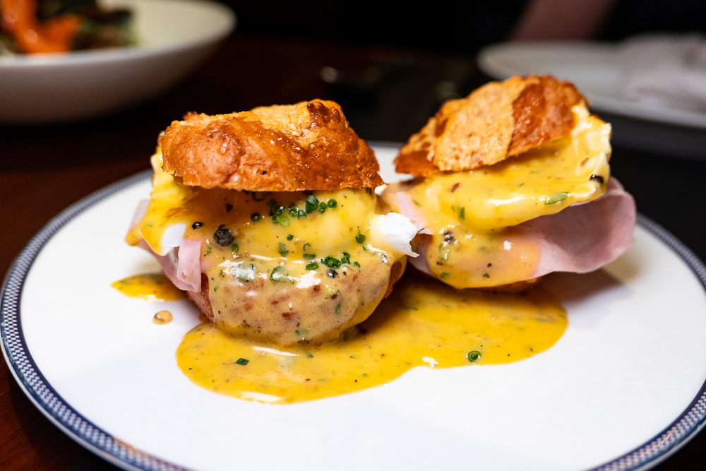 Eggs Benedict on the brunch menu at Coquille Seafood Bistro, French restaurant in Shanghai. Photo by Rachel Gouk.