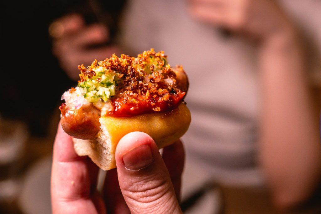 Danish mini hotdog at BOR Eatery, a restaurant in Shanghai. Photo by Rachel Gouk