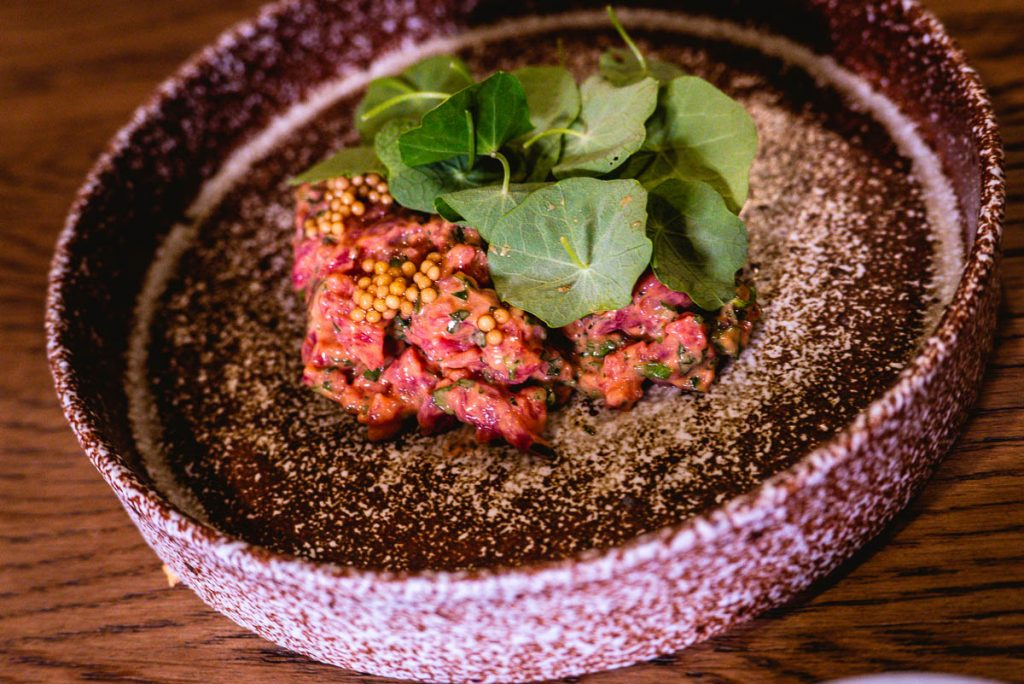 Beef tartare at BOR Eatery, a restaurant in Shanghai. Photo by Rachel Gouk