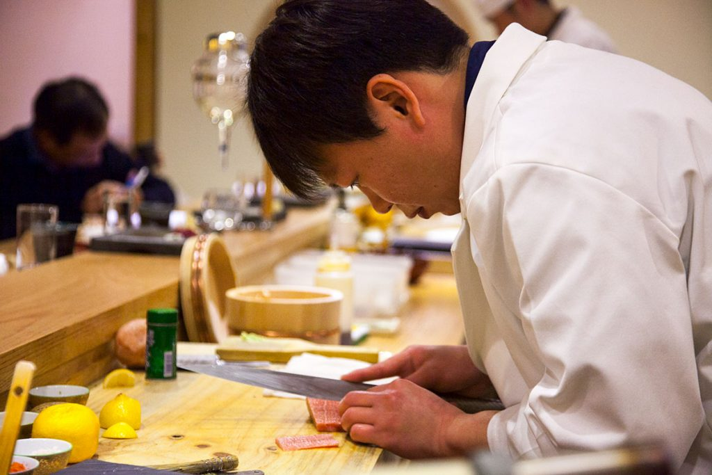 Chef Peter Lin, Sushi Naoki, japanese omakase restaurant in Shanghai. Photo by Rachel Gouk