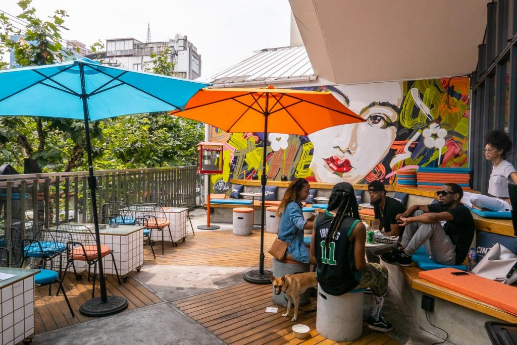 UP Shanghai: hip bar/restaurant in Shanghai with a terrace for brunch. Photo by Rachel Gouk.