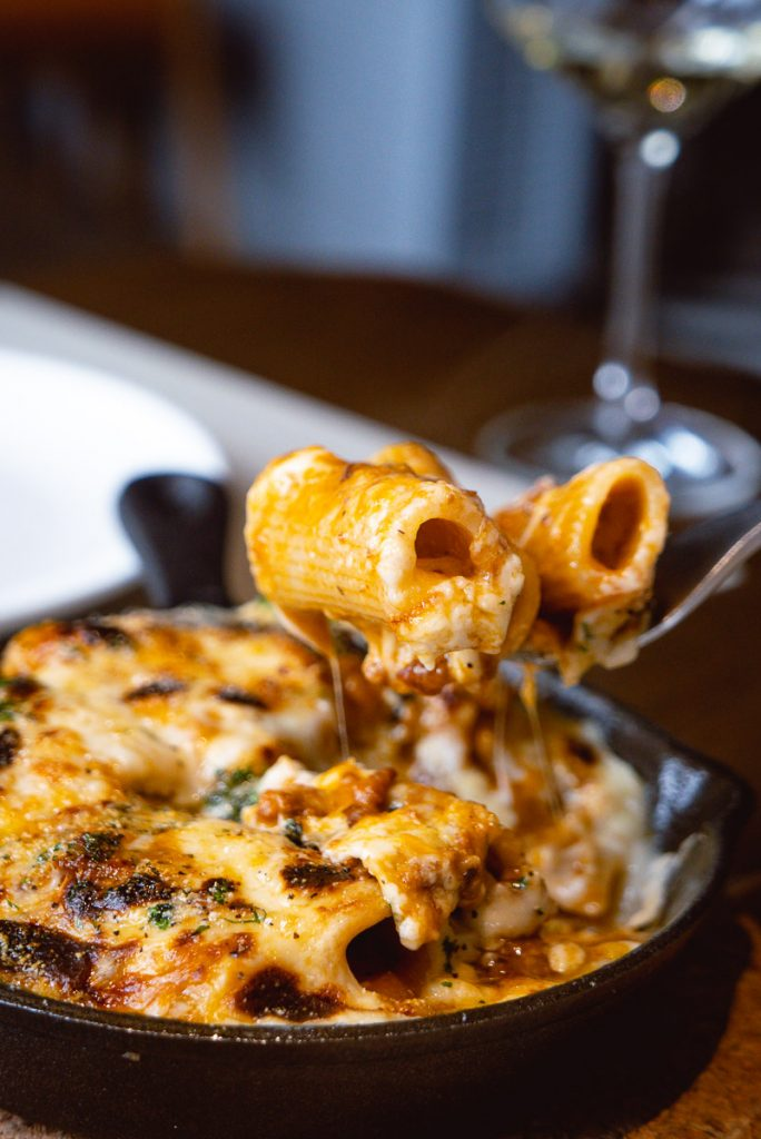 Baked Rigatoni for Brunch at Atto Primo on the Bund, an Italian restaurant in Shanghai. Photo by Rachel Gouk.
