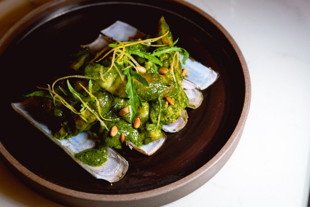 Razor clams at Head in the Clouds, an all-day brunch restaurant in Shanghai. (Photo by Rachel Gouk)