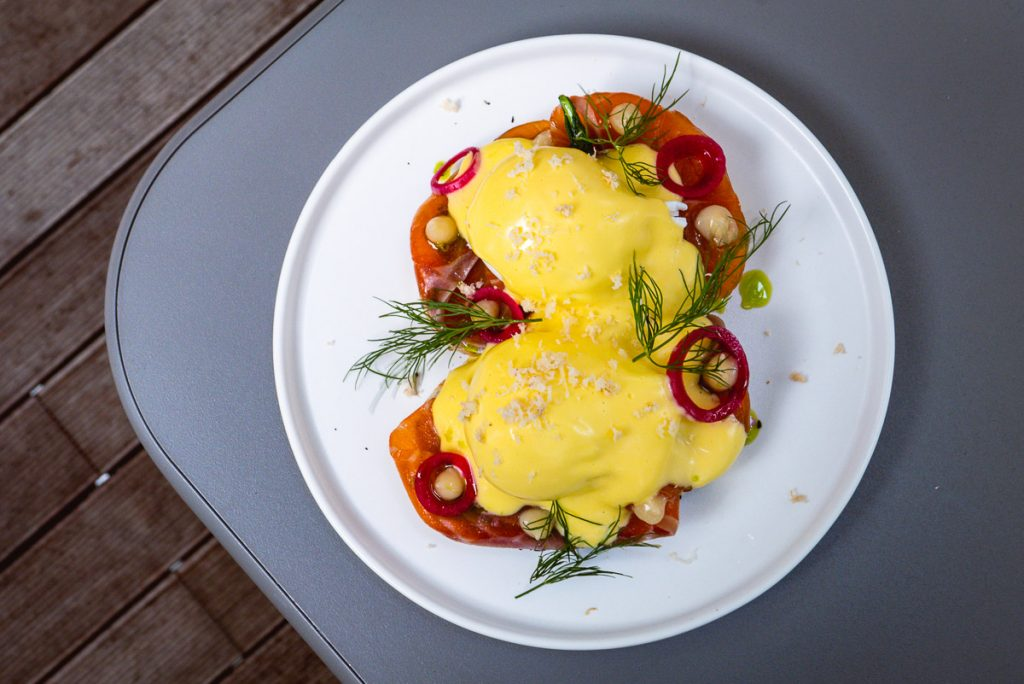 Eggs Benedict at Head in the Clouds, an all-day brunch restaurant in Shanghai. (Photo by Rachel Gouk)