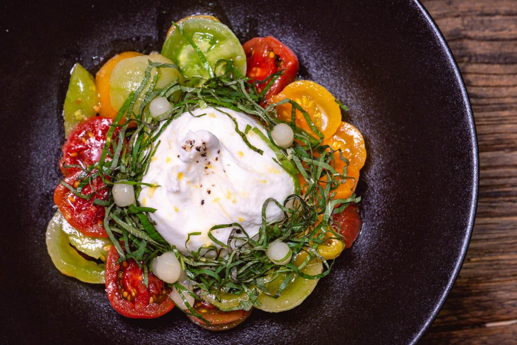 Burrata at Head in the Clouds, an all-day brunch restaurant in Shanghai. (Photo by Rachel Gouk)