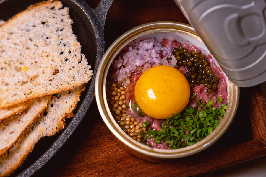 Beef tartare at Bespoke Modern Bar and Grill, steakhouse at the St Regis Shanghai Jingan. Photo by Rachel Gouk