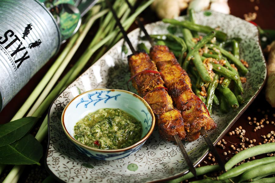 STYX is a casual restaurant in Shanghai that serves global cuisine by way of skewers.