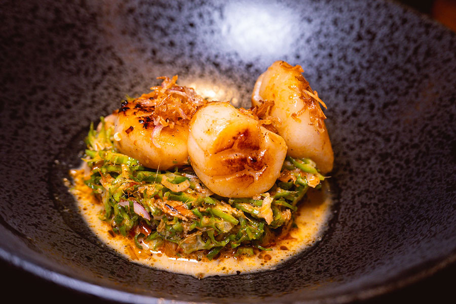 Grilled Hokkaido scallop at Urban Cafe all-day dining and Southeast Asian restaurant at the Sukhothai Shanghai. Photo by Rachel Gouk