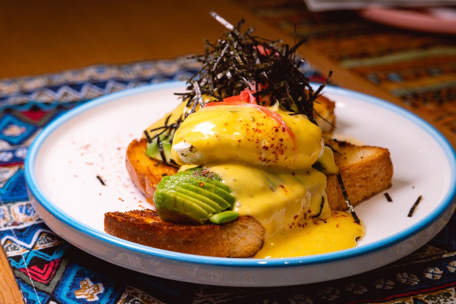 Eggs Benedict for brunch at Birds of Paradise, a tiki bar and restaurant in Shanghai. Photo by Rachel Gouk.
