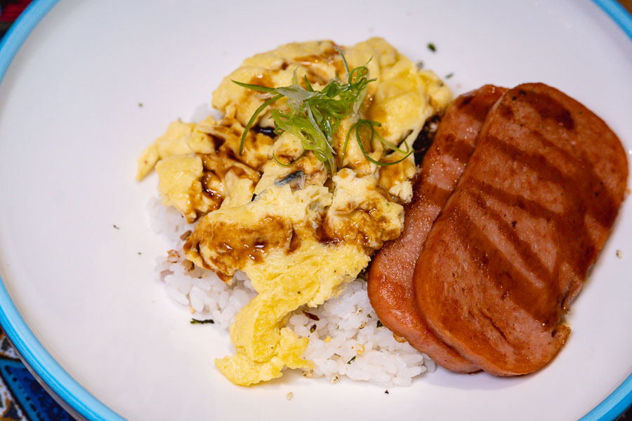 Spam, eggs and rice for brunch at Birds of Paradise, a tiki bar and restaurant in Shanghai. Photo by Rachel Gouk.