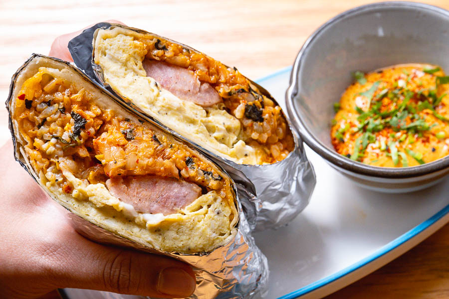 Breakfast Burrito for brunch at Birds of Paradise, a tiki bar and restaurant in Shanghai. Photo by Rachel Gouk.