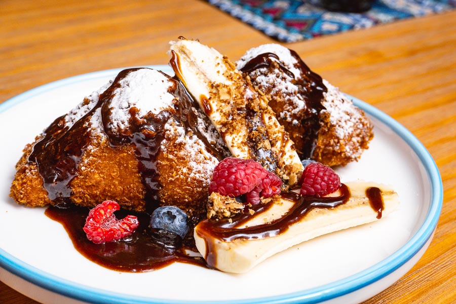 Banana French Toast for brunch at Birds of Paradise, a tiki bar and restaurant in Shanghai. Photo by Rachel Gouk.