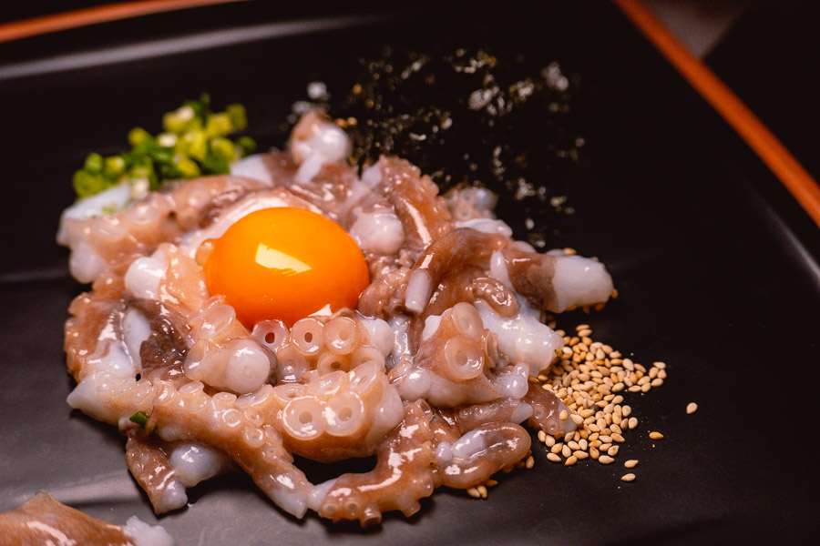 Live Octopus Sashimi at JUJU, a Korean barbecue restaurant and ganbei joint on the Bund, Shanghai. Photo by Rachel Gouk