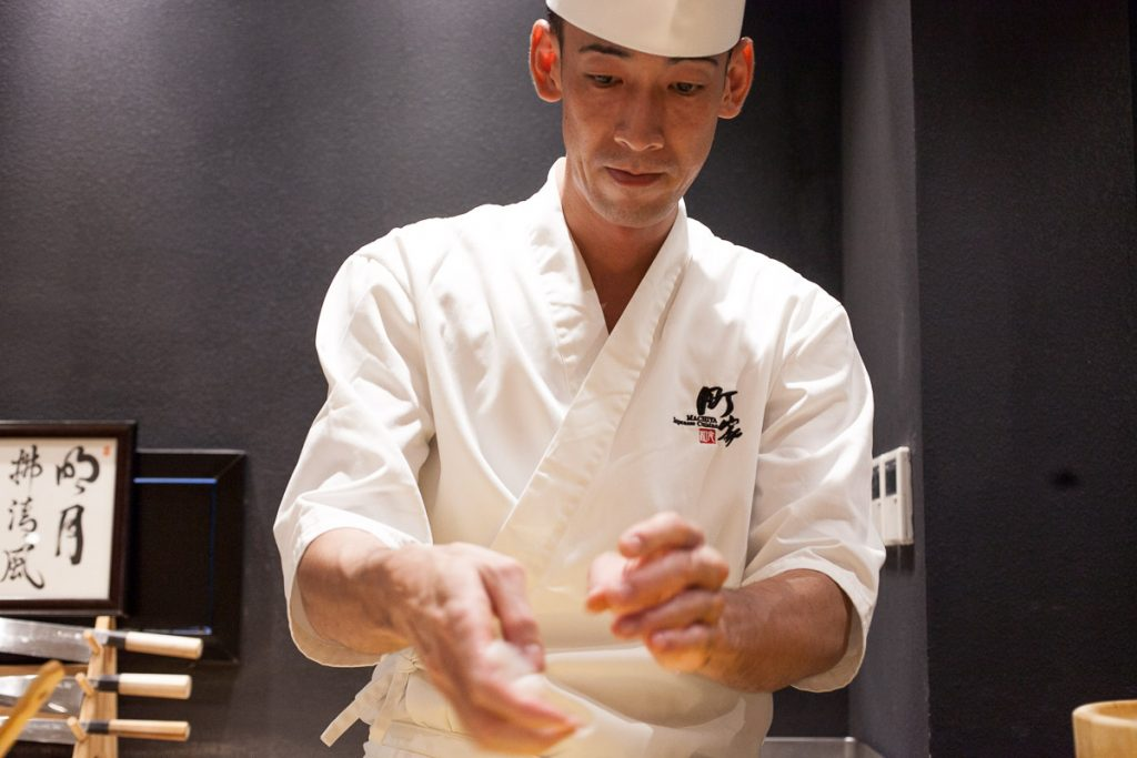 Chef Naoki at Machiya, a Japanese restaurant in Shanghai. Photos by Rachel Gouk.