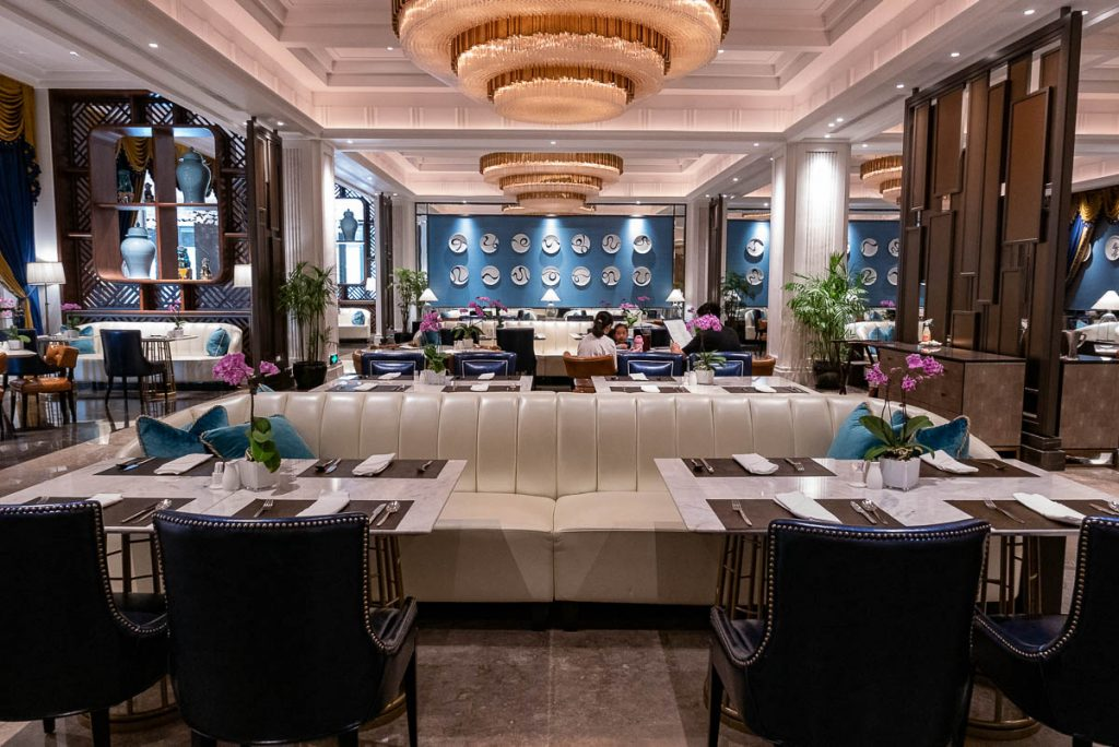 Hotels in Shanghai: St. Regis Shanghai. Social all day dining restaurant (Photo by Rachel Gouk)
