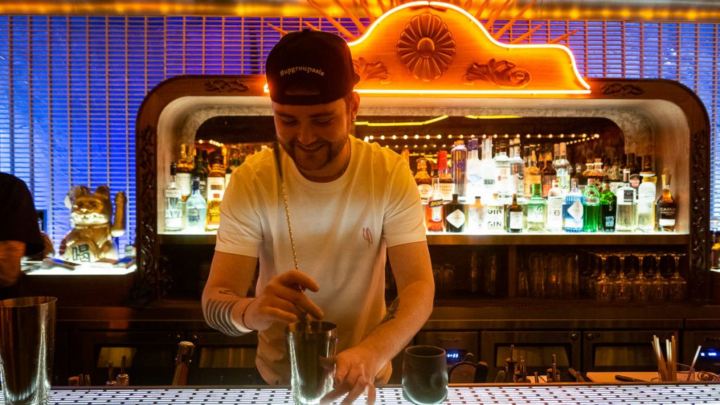UP Shanghai is a cocktail bar/lounge in Shanghai. Barman Jackie Dmitriev.