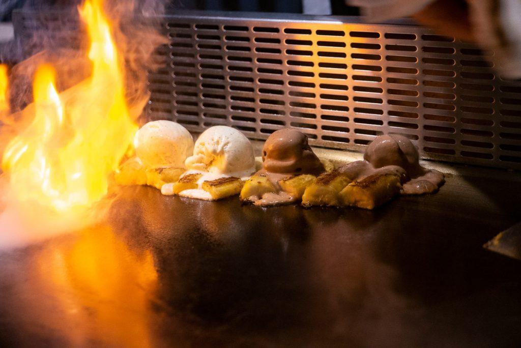 Flambéed Ice Cream at Kagen, a popular Japanese teppanyaki restaurant in Shanghai. Photo by Rachel Gouk.