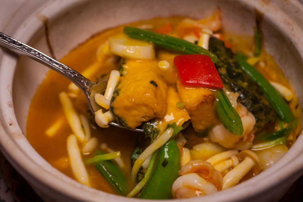 Beancurd with Seafood at Lion, a contemporary Nanyang restaurant in Xintiandi, Shanghai.  Photo by Rachel Gouk.