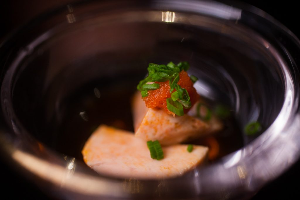 Monkfish liver at Nakama, a Japanese restaurant in Shanghai specializing in high-grade beef yakiniku. Photo by Rachel Gouk.