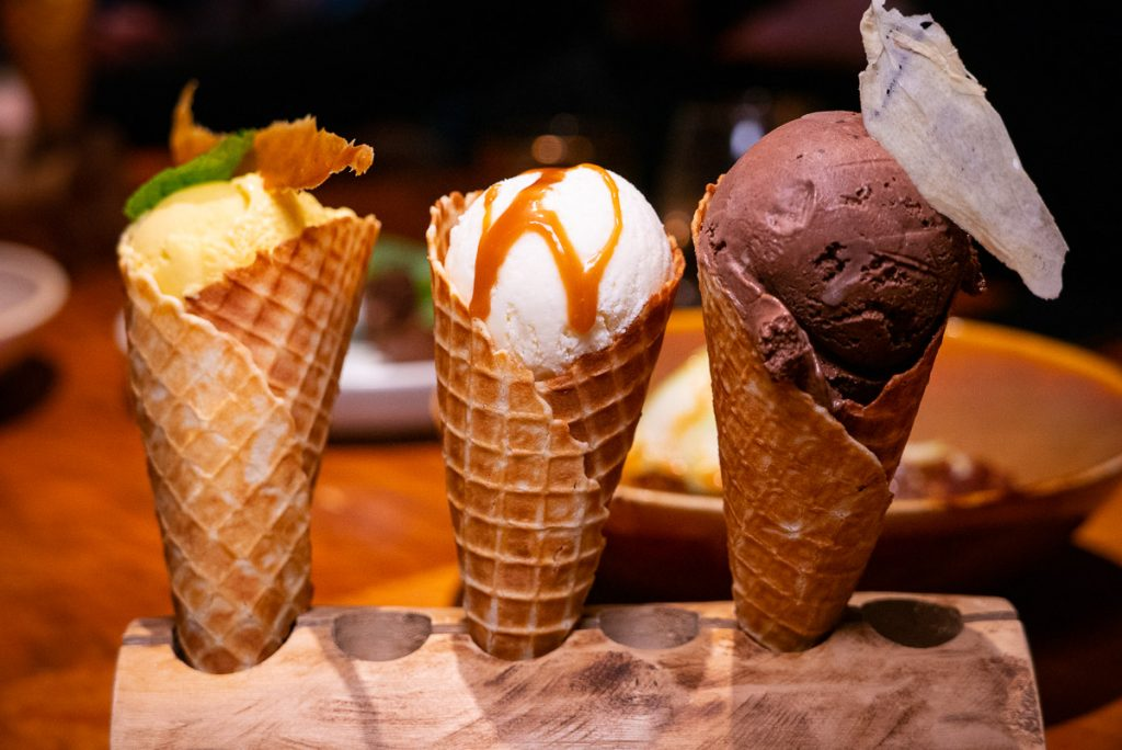 Ice cream at C Pearl, a seafood and oyster restaurant in Pudong Century Link mall.