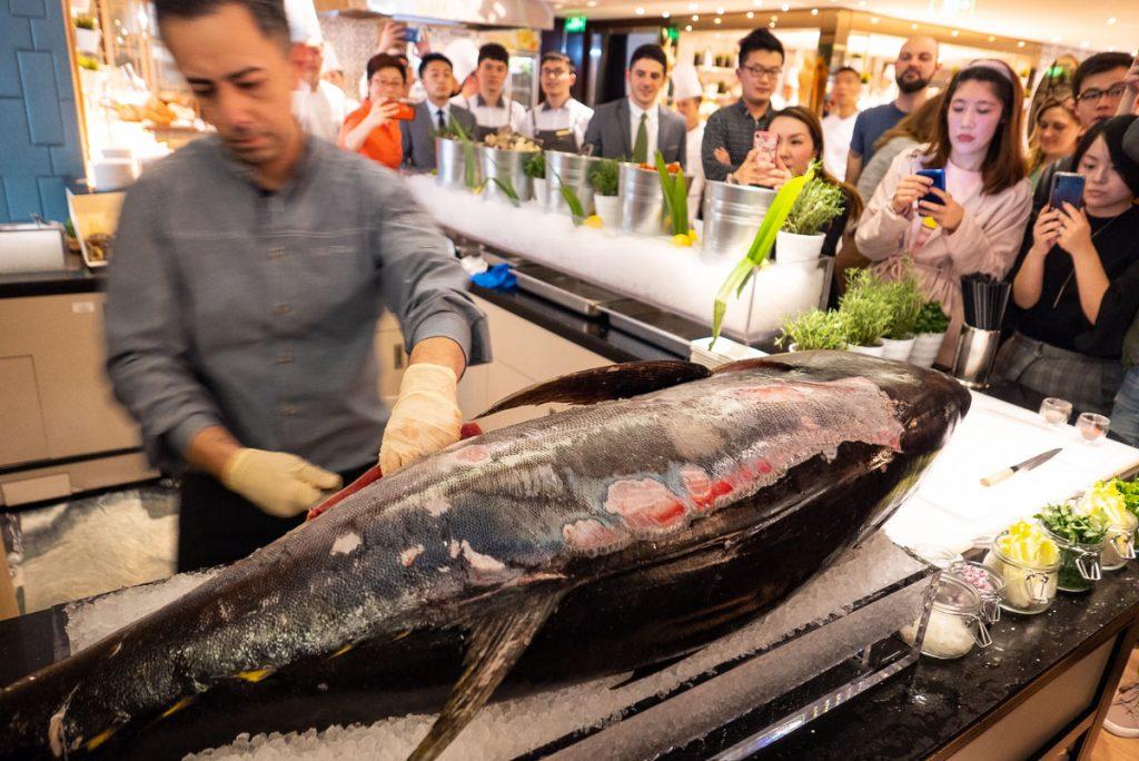 Tuna at The brunch buffet at Portman's Restaurant, Portman Ritz-Carlton Shanghai. Photo by Rachel Gouk.