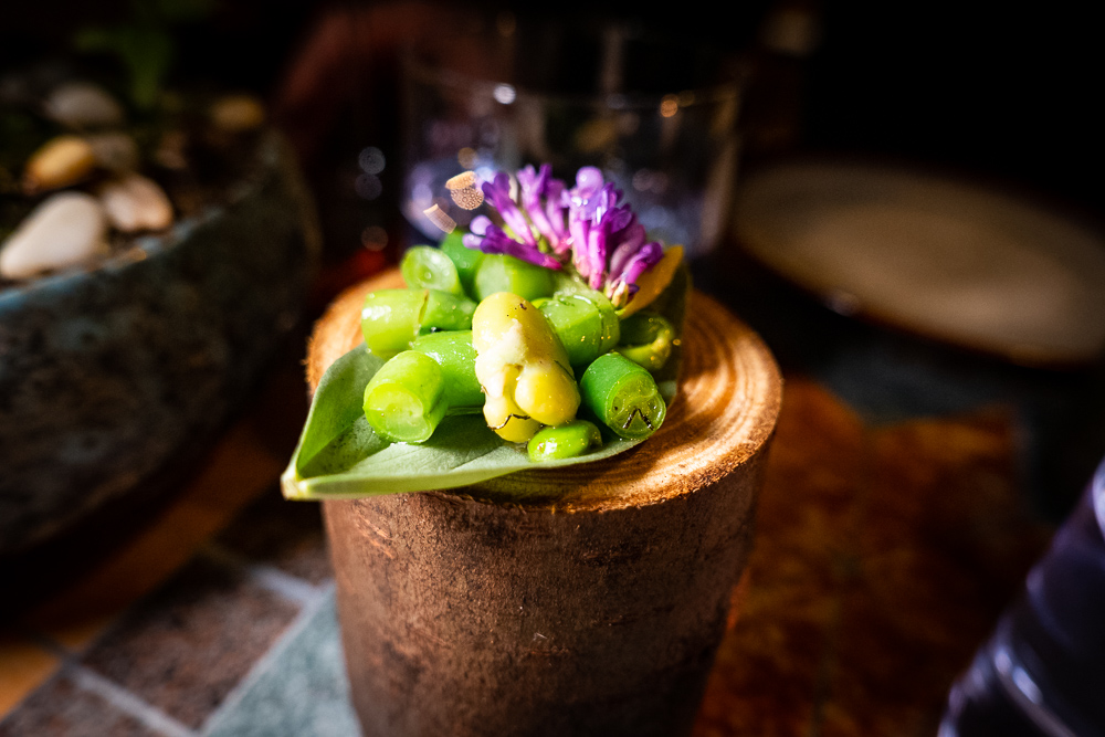 Spring beans and wild peas at Botanik, a seasonal, mostly plant-based sustainable restaurant in Shanghai. Photo by Rachel Gouk.