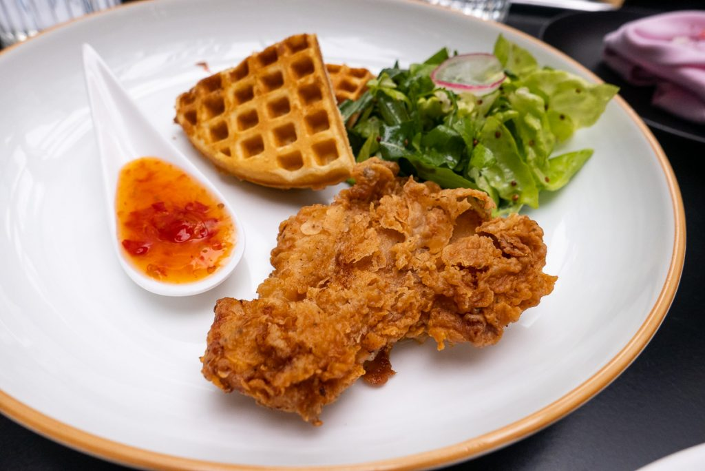 Chicken and Waffles  for brunch at FED by July. Photo by Rachel Gouk.