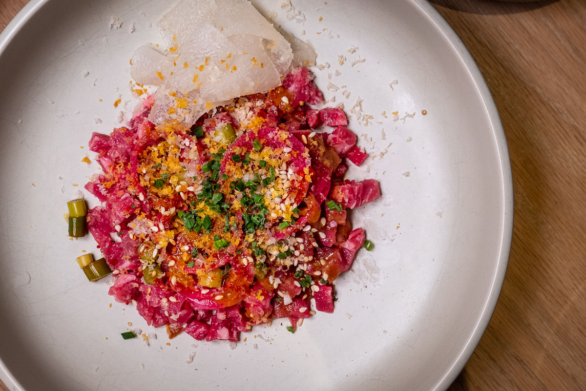 Beef tartare at Heritage by Madison, one of the best new restaurants in Shanghai 2019. Photo by Rachel Gouk