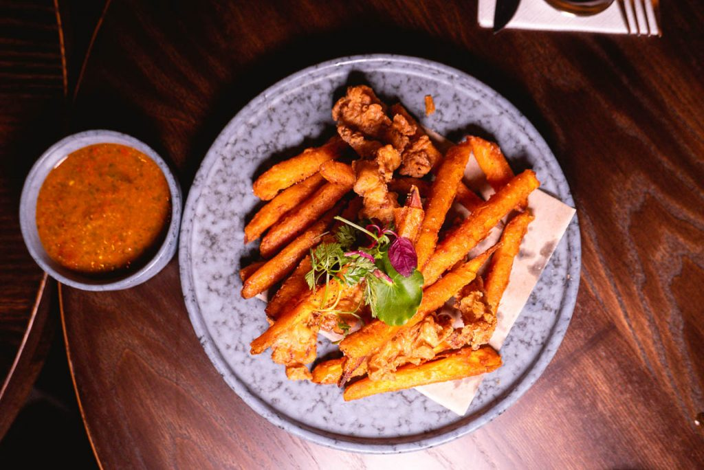 Chicken and sweet potatoes  at Arch by Taste Buds — a cocktail bar in Shanghai. Photo by Rachel Gouk.