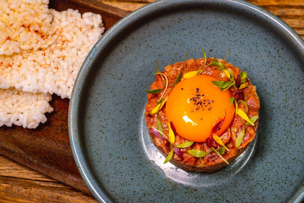 Beef Tartare at Head in the Clouds, an all-day brunch restaurant in Shanghai. (Photo by Rachel Gouk)