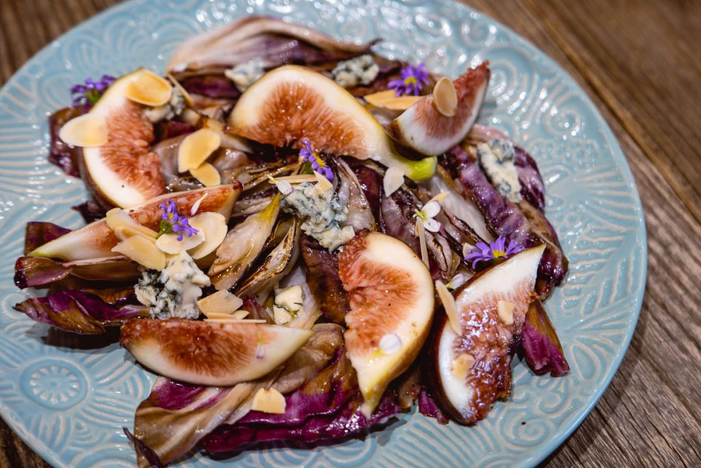 Fig salad  at Head in the Clouds, an all-day brunch restaurant in Shanghai. (Photo by Rachel Gouk)